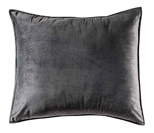 funda de almohada europea velvet gris vianney