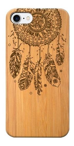 funda de celular de madera - iphone y samsung- atrapa sueños