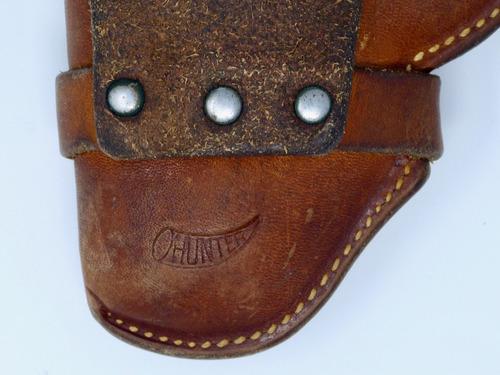 funda de piel antigua para pistola marca hunter