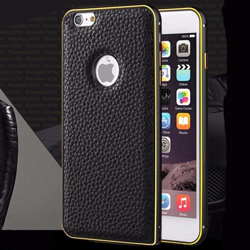funda de piel iphone 6 + bumper de aluminio