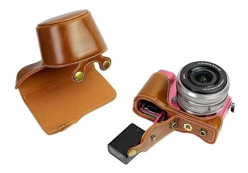 funda de piel sintética para cámara sony a5000 a5100 a6000 a