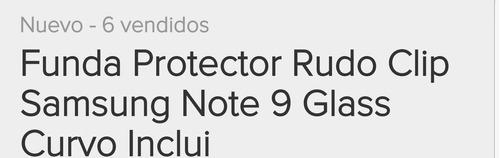 funda de uso rudo p/samsung note 9 incluye glass curvo