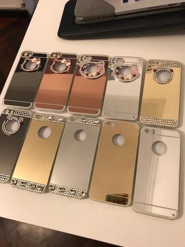 funda espejada con strass iphone 5 5s se + vidrio templado