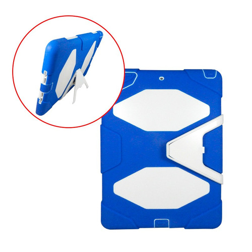 funda estilo survivor ipad air 1 uso rudo base azul y blanco