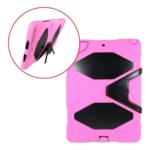 funda estilo survivor ipad air 1 uso rudo base rosa y negro