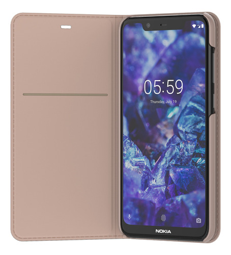 funda flip cover entertainment nokia 5.1 crema