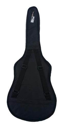 funda guitarra acustica mochila doble correa negro liso