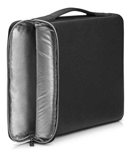 funda hp 14  con manija sleeve black / silver impermeable 14