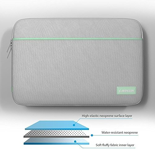 funda ibenzer p/laptop de 13.3 in con bolsillo neopreno gris