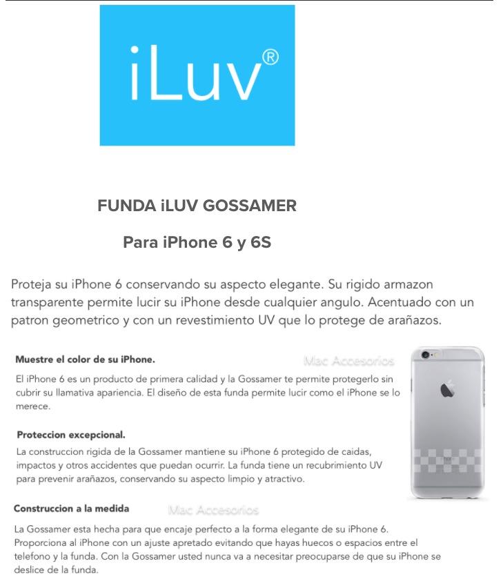 4c11a2a0522 funda iluv gossamer transparente para iphone 6 6s + vidrio. Cargando zoom.