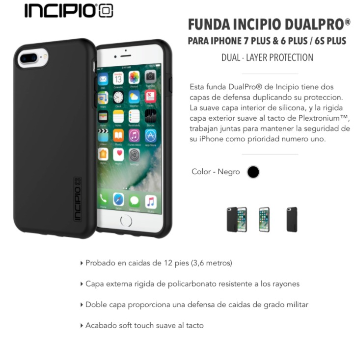 more photos 68b77 3125f Funda Incipio Dualpro - iPhone 8 Plus 7 Plus & 6 Plus