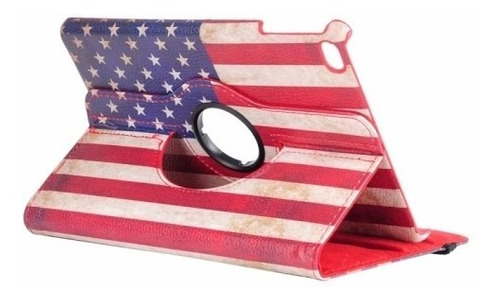 funda ipad mini 4 flip giratoria 360° banderas usa uk