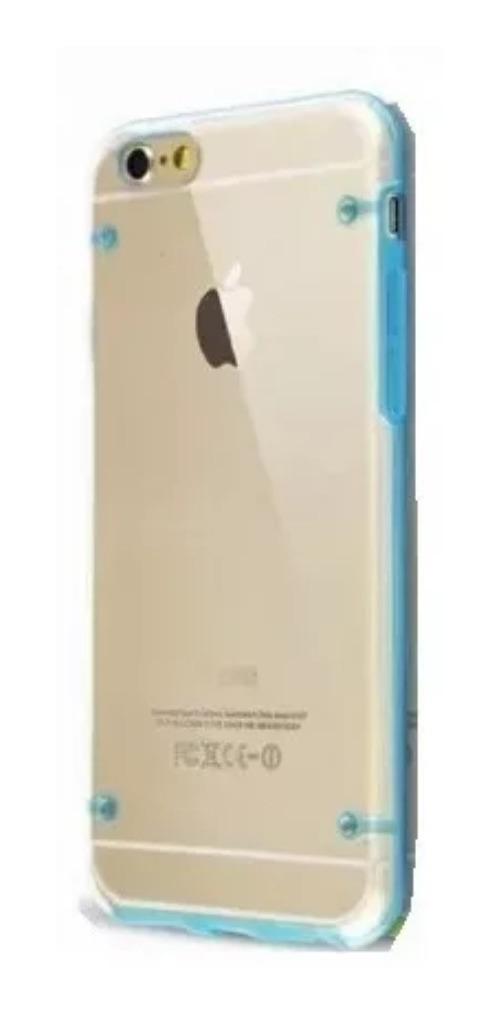 Comprar FUNDA DE SILICONA RIGIDA TRANSPARENTE iPHONE 6 PLUS AZUL a