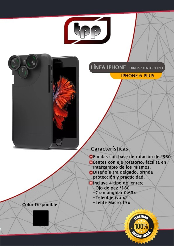 56d6c6c1471 Funda iPhone 6 Plus Lentes 4 En 1 Ojo De Pez Macro - $ 275,00 en ...