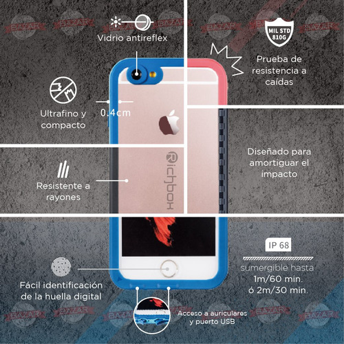 funda iphone 7 8 plus protector sumergible agua antigolpe