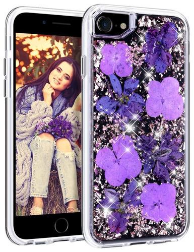 funda iphone 7 / iphone 8, honeyake handmade genuina flores