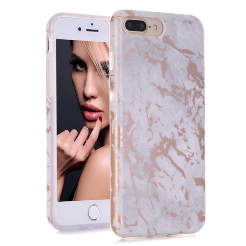 funda iphone 7 plus, diseño de mármol gris oro rosa brilla