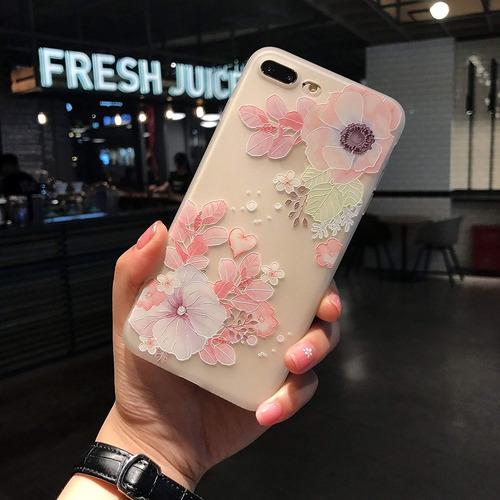 funda iphone 8 plus, iphone 7 plus funda de flor impresa en