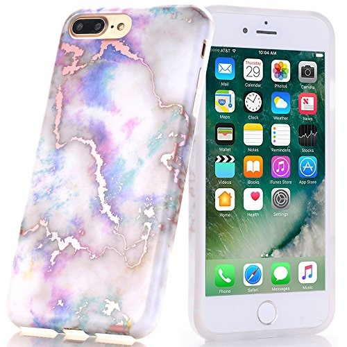 5a1b7caa2dd Funda iPhone 8 Plus, Rosa Brillante, Diseño Mármol Blanco, B ...