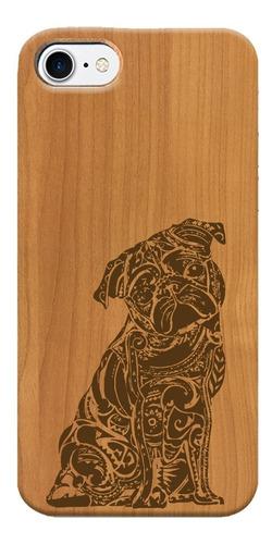 funda iphone samsung y huawei de madera pug perro mandala