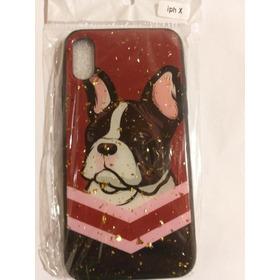 Funda iPhone X Perro Con Brillos