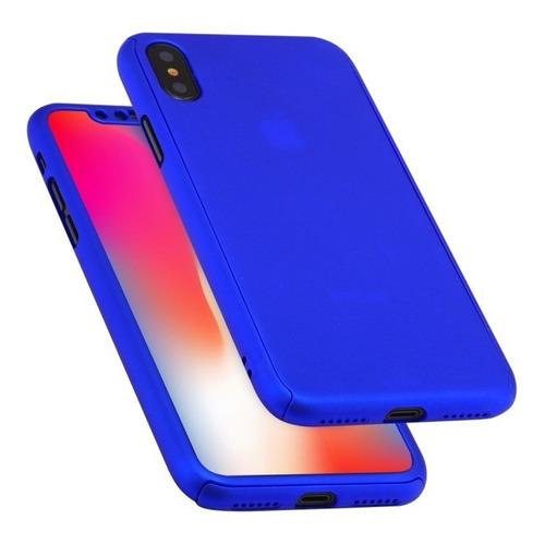 funda iphone xs max 360 full cover rígida + templado + envio