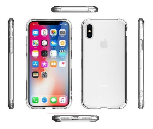 funda iphone xs max xr 6 7 8 plus airbag + vidrio + envio