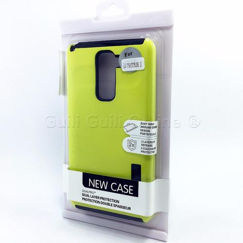funda lg stylus 2 case dual protector alto impacto + mica