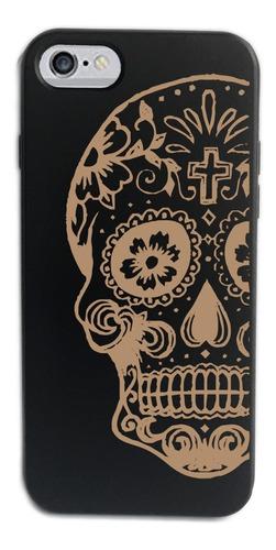 funda madera negra* - iphone 7/8 - diseño calaca
