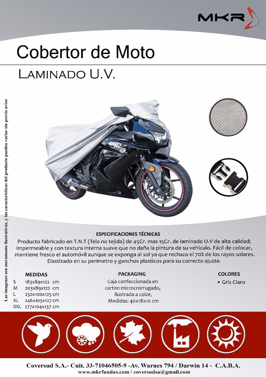 642c75a3720 Funda Moto - Medida S - Todas Las Marcas - $ 1.512,00 en Mercado Libre