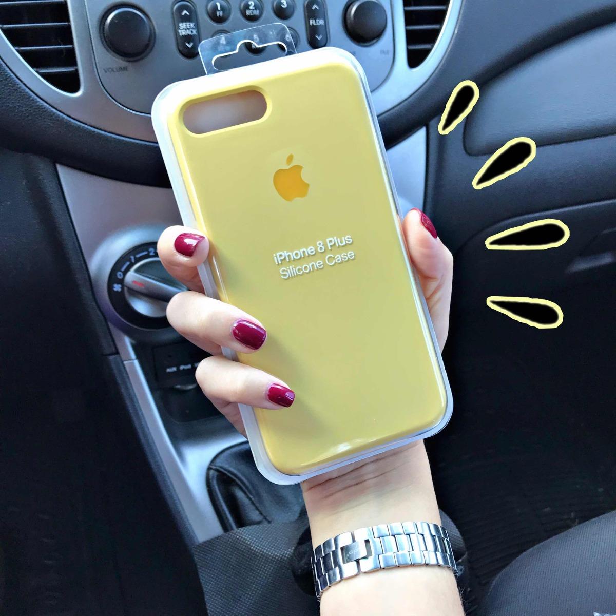 funda iphone 7 plus silicona amarilla