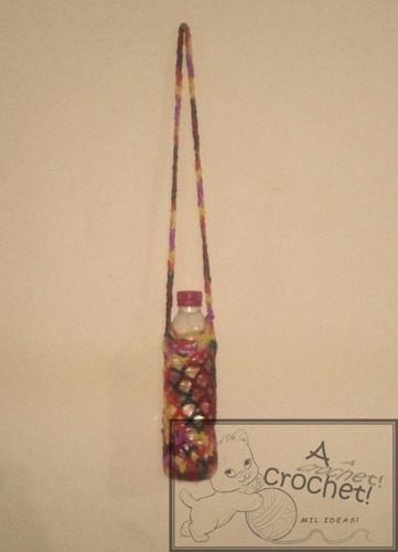 funda para botella a crochet