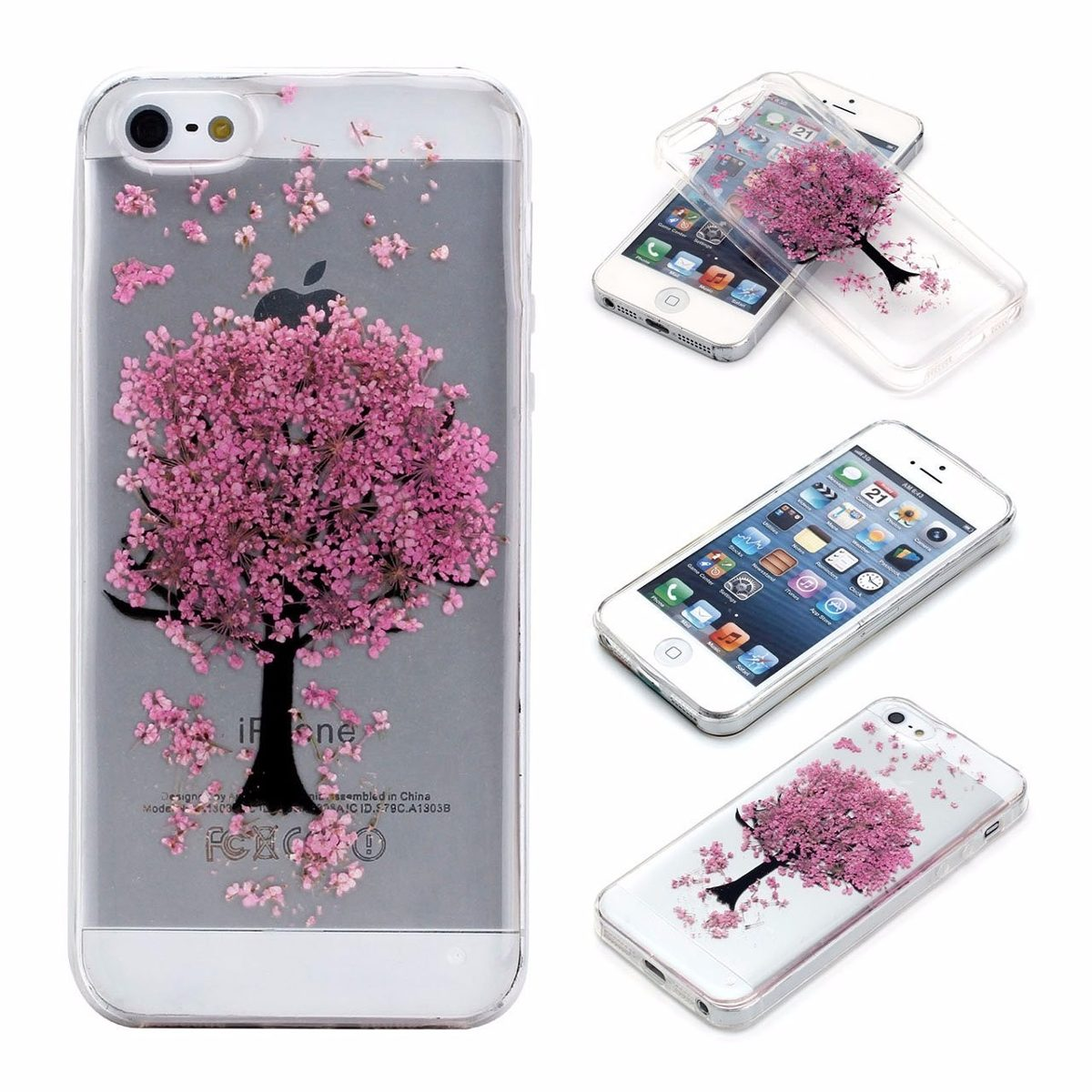Funda para celular iphone 5 5s yoption arbol rosa 644 for Protectores 3d para celular