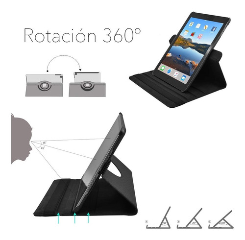 funda para ipad air 3 giratoria 360º  + vidrio