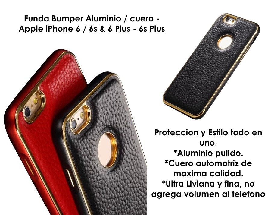 cbe53a5abcd Funda Para iPhone 6 6s Plus Aluminio Cuero Case +glass - $ 299,90 en ...