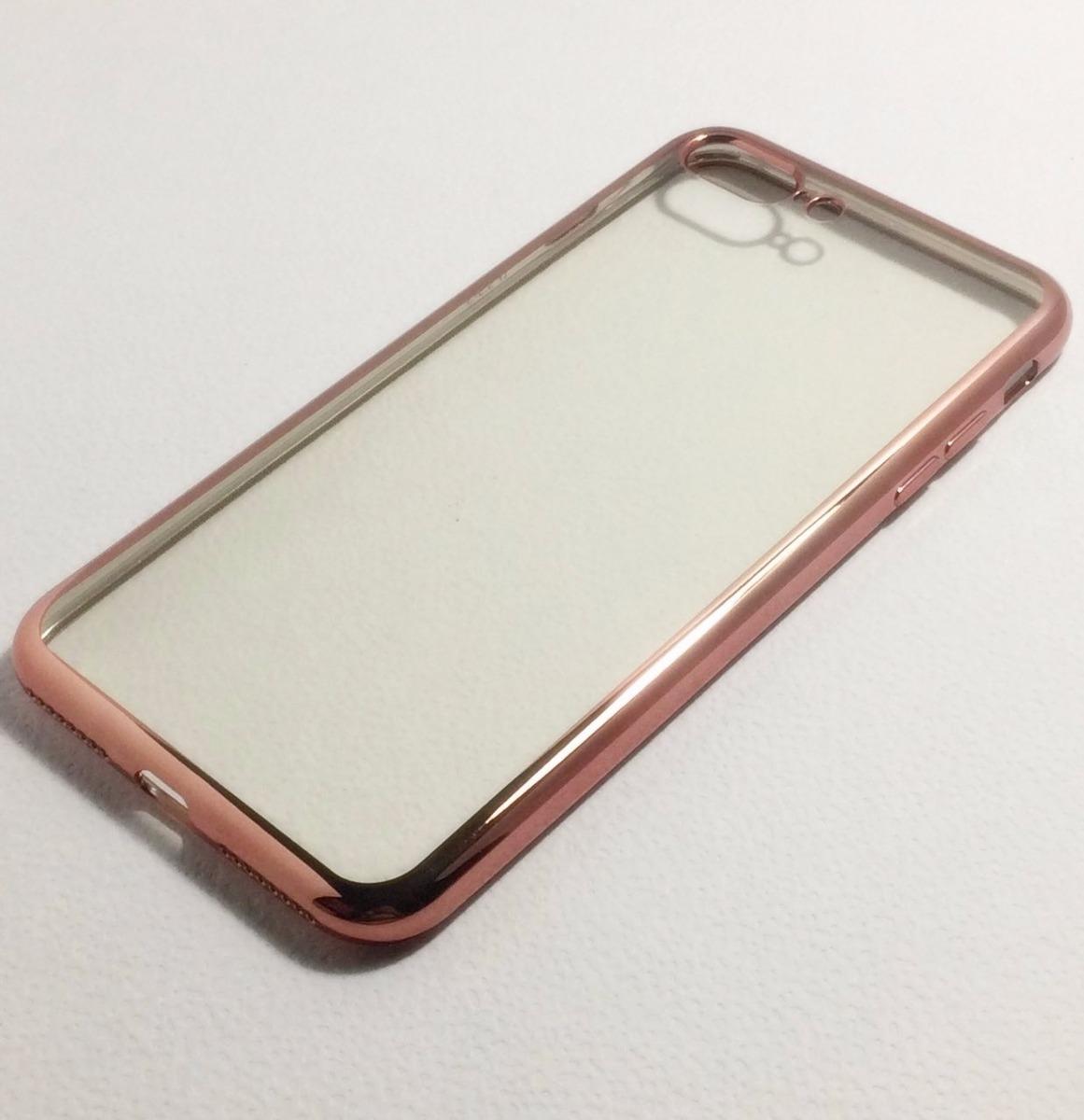 39518a44a09 funda para iphone 7 plus transparente borde metalizado pink. Cargando zoom.