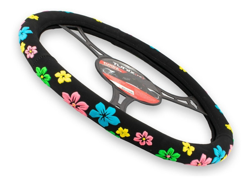 funda para volante tipo gamuza flores de colores para dama
