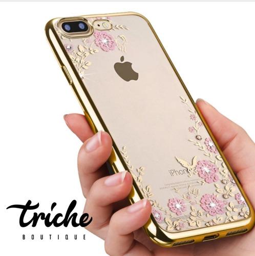 funda pedrería flores rosa dorado iphone 6 iphone 6s envío