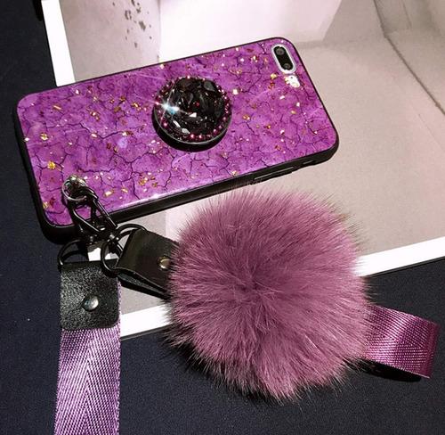 funda pompon iphone 6, 6+, 7, 7+, 8, 8+, x, xs, xs max, xr