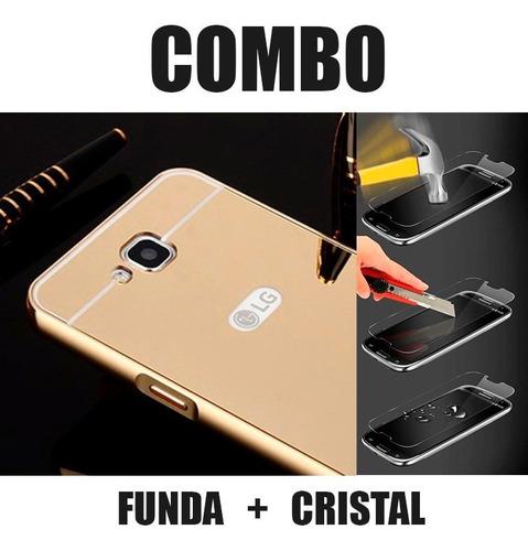 funda protector aluminio espejo + cristal lg pro lite d680