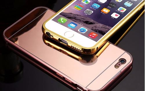 funda protector aluminio tipo espejo + cristal iphone 7 / 8