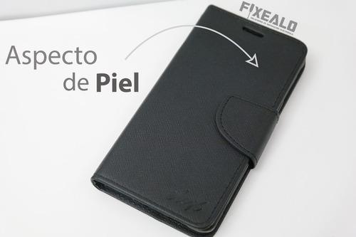 funda protector cartera piel case  alcatel ot4009 + cristal