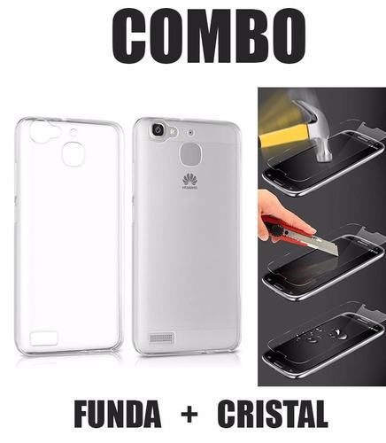 funda protector crystal case + cristal huawei gr5 honor 5x