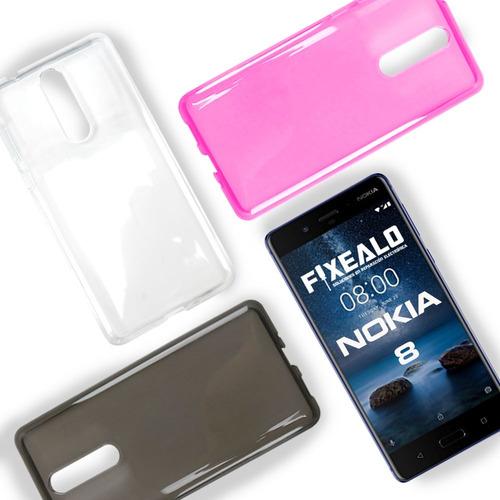 funda protector crystal case flexible + 2 micas nokia 8