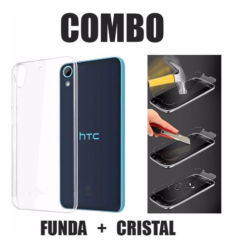 funda protector crystal case tpu + cristal templado htc 626