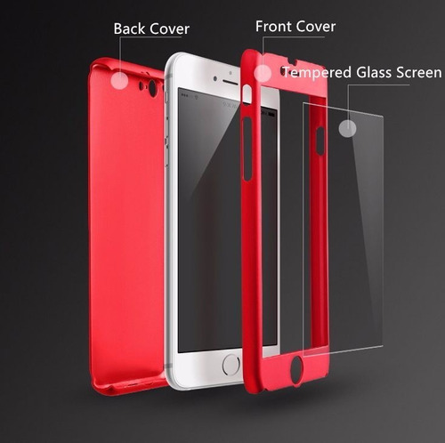funda protector iphone 7, 7 plus + cristal templado 360°