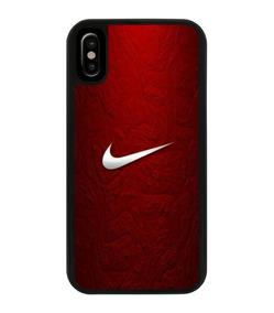 best service c813a bf0c9 Funda Protector iPhone Tipo Nike Logotipo Blanco Fondo Rojo