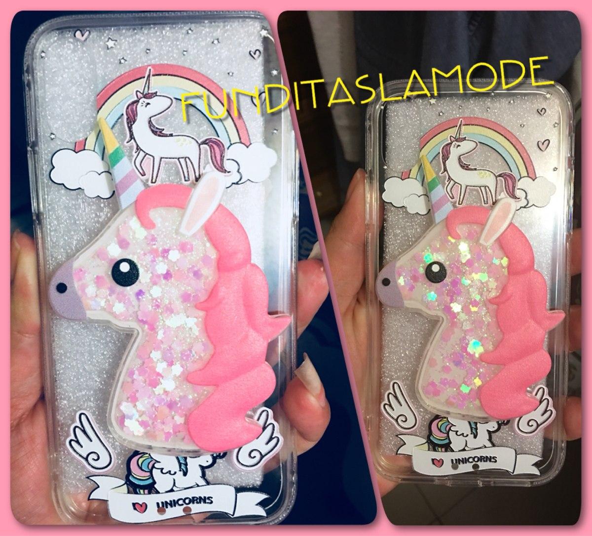 Funda Protector Iphone X Unicornio Pony Agua Glitter Envío