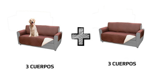 funda protector mascotas 3 cuerpos reversible sofá sillón 2u