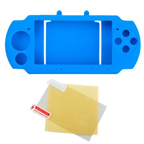funda protector silicona + protector pantalla sony psp azul